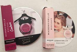 ROCHAS   : 2  Echantillons  Tubes Sur Cartes : Mademoiselle Rochas & Mademoiselle Rochas Couture - Perfume Samples (testers)