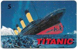 Denmark - Tele Danmark (chip) - Titanic - TDP209b - 04.1998, 1.300ex, 5kr, Used - Denmark