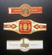 Bagues Lutetia / Sumatra Premium Villiger / La Reina De Manila (A1P1L1) - Bagues De Cigares