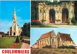 Cpsm - Coulommiers - L 'église St Denis  , Les Ruines Du Château , Parc Des Capucins  , La Commanderie             AA891 - Coulommiers