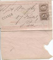 REF1399/ TP 54(2) S/Demande Renseignements Chargement C.Etoile 1 + C.Paris PL.Bourse 25/4/74 C.ambt Paris à Erquelinnes - 1849-1876: Période Classique