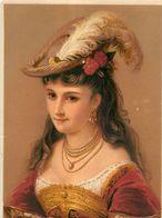 Ancienne Chromo Pastel Grand Format, Buste De Femme N° 7, Chapeau Plume, Colliers, Oeillets... - Chromos