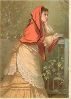Ancienne Chromo Pastel Grand Format, N° 8, Jeune Femme Pensive à Un Balcon, Livre... - Chromos
