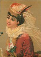 Ancienne Chromo Pastel Grand Format, N° 6 , Jeune Femme Avec Voile, Plume.... - Chromos