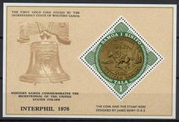 Samoa 1976 US Bicentennial, Coins, Horses, Interphil S/s MNH - Unabhängigkeit USA