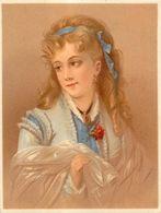 Chromo Pastel Fin 19ème , N° 1 , Femme Avec Robe Et Voile, Ruban, Camée, Oeillet... - Chromos