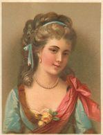 Chromo Pastel Fin 19ème , N° 5 , Femme Avec Ruban, Roses, Bijoux... - Chromos
