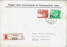 T.P. PA 19 + 20 S/L. Recommandée De VADUZ Du 3.XI.45 à GIVET (France) - Thème = RAPACES - Lettres & Documents