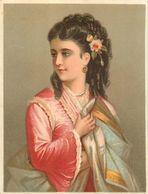 Chromo Pastel Fin 19ème , N° 4 , Femme Avec Toge ( ? ), Rose Dans Les Cheveux, Bijoux... - Chromos