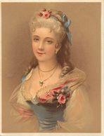Chromo Pastel Fin 19ème , N° 3 , Femme Avec Ruban à Fleurs, Pendentif, Roses... - Chromos