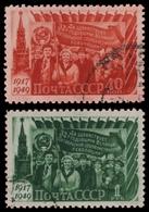 Russia / Sowjetunion 1949 - Mi-Nr. 1397-1398 Gest / Used - Oktoberrevolution - 1923-1991 USSR