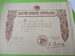 Brevet Sportif Populaire/4éme échelon/Académie De DIJON/Niévre/Camuzat Henri/Cervon/entre 1950 Et 1960    DIP218 - Diploma & School Reports