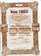 MAISON SAROLEA; Part Sociale (motos) - Automobile