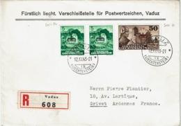 T.P. Service 21 + 22 S/L. Recommandée De VADUZ Du 12.XII.45 à GIVET (France) - Liechtenstein
