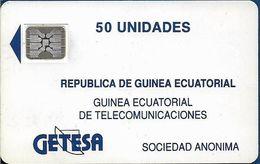 Equatorial Guinea - GETESA - Logo 50 Blue, Cn. 25527 Embossed, SC4 SB, 50Units, Used - Guinée-Equatoriale