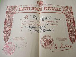 Brevet Sportif Populaire/4éme échelon/Commandement En Chef En ALLEMAGNE/Pringuet Michel/Achern /entre 1955-1960   DIP245 - Diploma & School Reports