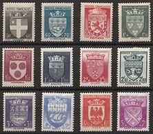 Timbres France Armoiries Blasons De 1942 Yvert 553/564 Neuf * Cote 30 € - 1941-66 Escudos Y Blasones