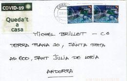 Lettre D'ESPAGNE 2020,durant COVID19.Coronavirus, Adressée ANDORRA,avec Vignette Locale Prevention STAY HOME - 2011-... Lettres