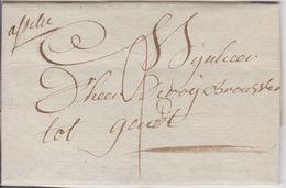 Lettre De ASSCHE Du 29/10/1804 Vers GENT En Port Dû 2 Sols Avec Marque Manuscrite De La Distribution D'ASSCHE Super - 1794-1814 (Période Française)