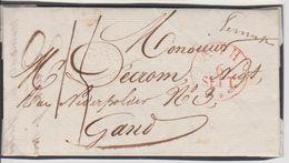 Lettre De PERUWELZ Du 6/9/1829 Vers GAND En Port Dû 15 CENTS Avec Marque Manuscrite De La Distribution PERUWELZ Et ATH - 1815-1830 (Periodo Olandese)