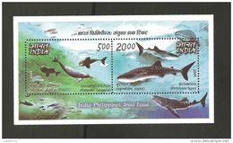 RO) 2009 PHILIPPINES, JOINT ISSUE WITH INDIA, GANGETIC DOLPHIN, WHALE SHARK BUTANDING, MARINE LIFE, MNH - Filipinas