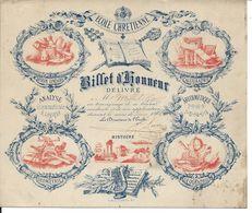 Billet D'honneur Ecole Chrétienne. Georges Milhet. Duras Mai 1873 - Diplomas Y Calificaciones Escolares