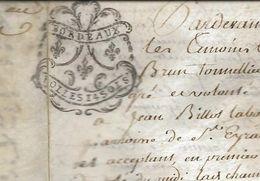 Acte Notarié 30/11/1783 Vente Immobilière Duras, F Brun / J Billot. Timbre Frais D'acte 14 Sols TB - Manuscritos