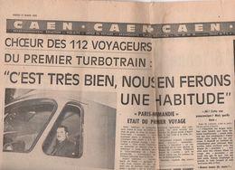 SNCF:DÉPOT DE CAEN.mise En Service Du Turbotrain.coupures De PARIS-NORMANDIE MARS 1970. - Vieux Papiers