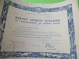 Brevet Sportif  Scolaire/Enseignement 1er Degré/Ministére Education Nationale/Duval JP/Châteaudun/1960   DIP233 - Diploma & School Reports