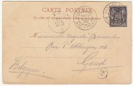 CP 10c Sage Cad Gare De Pau  Basses Pyrénées ->  Belgique 1900 - Postmark Collection (Covers)