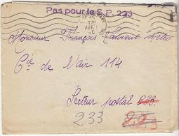 """EAC /FM  Marseille Gare 1940  Griffe Linéaire  """"Pas Pour Le Secteur Postal 223"""" - Marcophilie (Lettres)"""