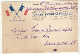 CPFM 2 Drapeaux Français Marseille Gare 1939 -> SP 136 - Marcophilie (Lettres)