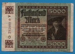 DEUTSCHES REICH 5000 MARK 2.12.1922   # O292889*Y   P# 81a - 5000 Mark