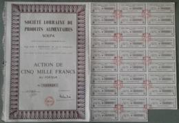 Société Lorraine De Produits Alimentaires SOLPA ; Homécourt ; Action De Cinq Mille Francs - Acciones & Títulos