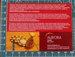 Ticket Biglietto Ingresso Casino Aurora Kobarid 2011 Slovenia - Tickets D'entrée