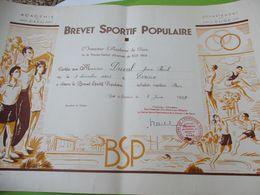Brevet Sportif  Populaire/Académie De CAEN/ Département De L'Eure//Duval JP/Evreux /1959   DIP231 - Diploma & School Reports