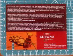 Ticket Biglietto Ingresso Casino KORONA Nova Gorica  2009 Slovenia - Tickets D'entrée