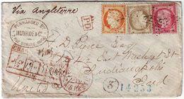 Tricolore Ceres Obl Etoile Paris 1875 Lettre CHARGEE Pour Les USA Etats Unis , Cachet D' Achemineur - 1871-1875 Ceres