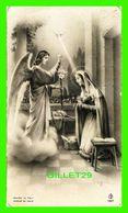 IMAGES RELIGIEUSES - LA VIERGE, UNE COLOMBE ET UN ANGE -  F. B. - ÉCRITE - CONTOUR OR - - Devotion Images
