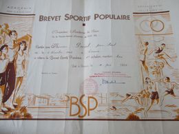 Brevet Sportif  Populaire/Académie De CAEN/ Département De L'Eure//Duval JP/Evreux /1958   DIP232 - Diploma & School Reports