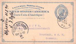 USA - POSTCARD 2 CENTS 1894 BELTZHOOVER - NEUSTADT/GERMANY /T171 - ...-1900