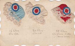 CARTE FANTAISIE . RARETE. POUR LA SAINTE CATHERINE. 3 BONNETS EN SATIN BRODES AJOUTES.16, 20, 25 ANS.ANNEE 1917+TEXTE - Sainte-Catherine