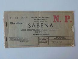 1939  Aviation  Sabena Carte Embarquement Billet De Passage N.P. - Boarding Passes