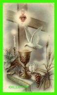 IMAGES RELIGIEUSES - COEUR AVEC ÉPINES, COLOMBE, CALICE - ORDINATION DU PÈRE CONSTANT EN 1955 À ST HYACINTHE -E - - Devotion Images