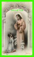 IMAGES RELIGIEUSES - JÉSUS DONNANT LA COMMUNION À UNE JEUNE FILLE , SURVEILLÉ PAR DES ANGES - A.R. Dep FIDES - - Devotion Images