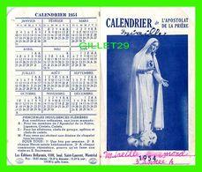 IMAGES RELIGIEUSES - CALENDRIER 1954 DE L'APOSTOLAT DE LA PRIÈRE - ÉCRITE - 4 PAGES - LES ÉDITIONS BELLARMIN, MONTRÉAL - - Devotion Images