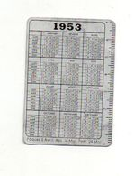 Petit Calendrier En Métal 1953, Avec Règle Sur Un Bord Offert Par Boyer Lingerie, Chemiserie, Blanc, Couvertures... - Calendriers