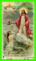 IMAGES RELIGIEUSES - SEIGNEUR, SAUVEZ-MOI CAR JE VAIS PÉRIR ! - FEMME DANS L'EAU - CARTE DENTELÉE - ÉCRITE - - Devotion Images