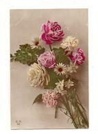 Carte Postale Bouquet De Fleurs E.M 59 Avec Un Timbre à 10 Cte De Francs Et Oblitérée En 1917 - Flores