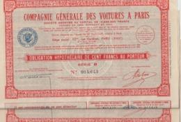 2 Actions Compagnie Générale Des Voitures à Paris .Obligation Hypothécaire De Cent Francs Au Porteur ; Série B - Automobile